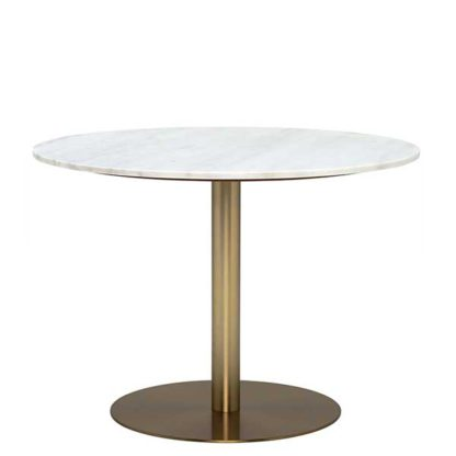 An Image of Apollo Lamp Table In White Marble & Brushed Brass Metal Base - Diameter: 50 x H50cm