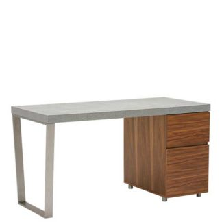 An Image of Halmstad Office Desk Concrete and Walnut