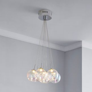 An Image of Elmira 7 Light Bubble Glass Cluster Ceiling Fitting Silver