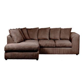 An Image of Blake Jumbo Cord Left Hand Corner Sofa Chocolate (Brown)
