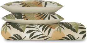 An Image of Rocoto Cotton Duvet Cover + 2 Pillowcases, King, Green & Natural