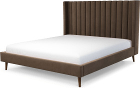 An Image of Cory Super King Size Bed, Mushroom Taupe Cotton Velvet with Walnut Stained Oak Legs