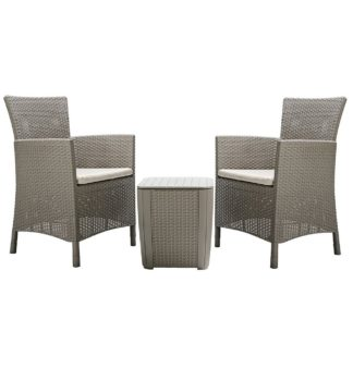 An Image of Keter Iowa 2 Seater Rattan Effect Bistro Set - Cappuccino