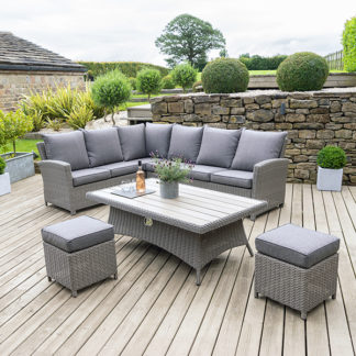 An Image of Murcia Right Hand Facing Garden Corner Dining Set in Slate Grey Weave