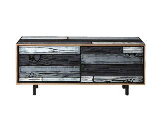 An Image of Established & Sons Wrongwoods Low Cabinet Light & Dark Grey