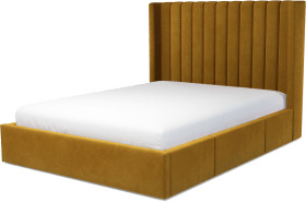 An Image of Cory King Size Bed with Storage Drawers, Dijon Yellow Cotton Velvet