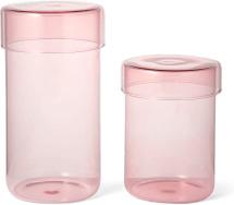 An Image of Huebsch Set of 2 Storage Jars, Pink Glass