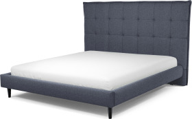 An Image of Lamas Super King Size Bed, Navy Wool with Black Stained Oak Legs
