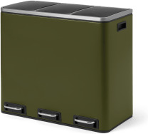 An Image of Colter 54L Soft Close Triple Recycling Pedal Bin, x3 18L, Forest Green