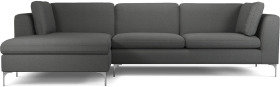 An Image of Monterosso Left Hand Facing Chaise End Sofa, Elite Grey with Chrome Leg
