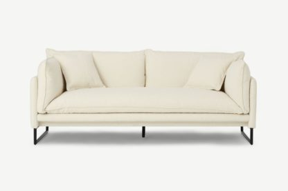 An Image of Malini 3 Seater Sofa, Whitewash Boucle