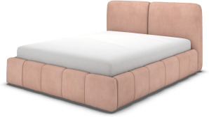 An Image of Maxmo Double Ottoman Storage Bed, Heather Pink Velvet