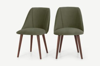 An Image of Lule Set of 2 Dining Chairs, Sycamore Green Velvet & Walnut