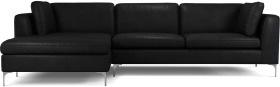 An Image of Monterosso Left Hand Facing Chaise End Sofa, Denver Black Leather with Chrome Leg