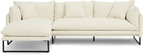 An Image of Malini Left Hand Facing Chaise End Sofa, Whitewash Boucle