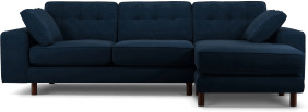 An Image of Content by Terence Conran Tobias, Right Hand facing Chaise End Sofa, Plush Indigo Velvet, Dark Wood Leg