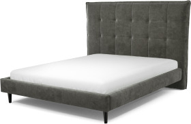 An Image of Lamas King Size Bed, Steel Grey Velvet with Black Stained Oak Legs