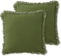 An Image of Sheedy Set of 2 Fringed Cushions, 45 x 45cm, Moss & Soft Green