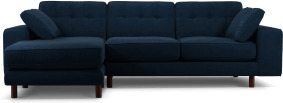 An Image of Content by Terence Conran Tobias, Left Hand facing Chaise End Sofa, Plush Indigo Velvet, Dark Wood Leg