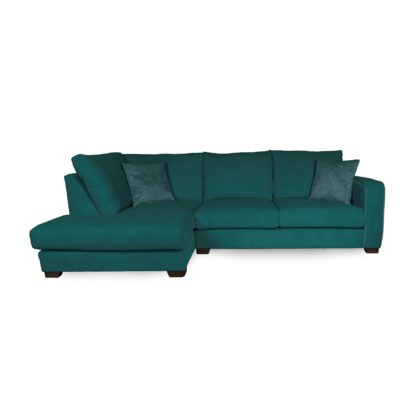 An Image of Carson Corduroy Left Hand Corner Sofa Emerald Green