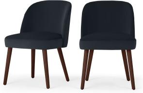 An Image of Swinton Set of 2 Dining Chairs, Dusk Blue Velvet & Walnut Leg