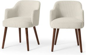 An Image of Swinton Set of 2 Carver Dining Chairs, Ecru Corduroy Velvet with Walnut Legs