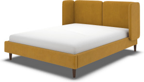 An Image of Ricola Double Bed, Dijon Yellow Cotton Velvet with Walnut Stained Oak Legs