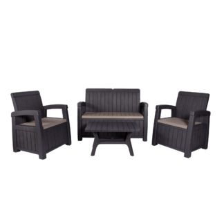 An Image of Faro 4 Seater Conversation Set Black