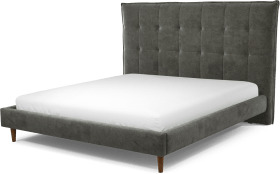 An Image of Lamas Super King Size Bed, Steel Grey Velvet with Walnut Stained Oak Legs