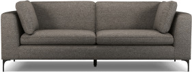 An Image of Monterosso 3 Seater Sofa, Textured Coin Grey with Black Leg