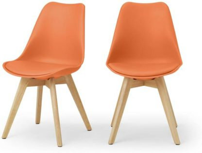 An Image of Deon Set of 2 Dining Chairs, Tangerine Orange with Oak Stain Legs