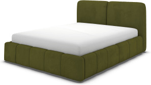 An Image of Maxmo Double Bed with Storage Drawers, Nocellara Green Velvet