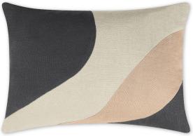 An Image of Favreau Linen Blend Cushion, 35x50cm, Pink and Charcoal