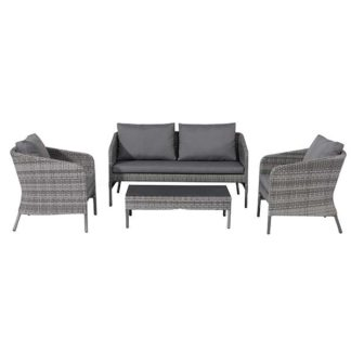 An Image of Levisham Garden Sofa Set in Grey Weave and Grey Fabric - Barker & Stonehouse