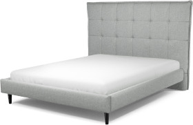 An Image of Lamas King Size Bed, Wolf Grey Wool with Black Stained Oak Legs