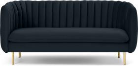 An Image of Helma 2 Seater Sofa, Twilight Blue Velvet