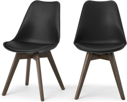 An Image of Deon Set of 2 Dining Chairs, Black with Dark Stain Legs