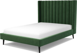 An Image of Cory Double Bed, Lichen Green Cotton Velvet with Black Stained Oak Legs