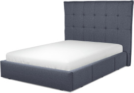 An Image of Lamas Double Bed with Storage Drawers, Navy Wool