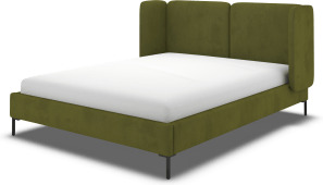 An Image of Ricola Super King Size Bed, Nocellara Green Velvet with Black Legs