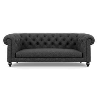 An Image of Heal's Fitzrovia 3 Seater Sofa Brecon Charcoal Black Feet