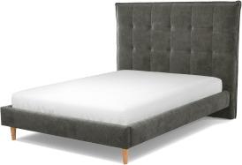 An Image of Lamas Double Bed, Steel Grey Velvet with Oak Legs