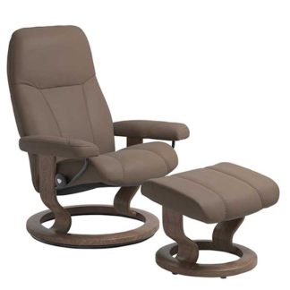 An Image of Stressless Consul Medium Classic Chair With Stool In Batick Mole And Walnut Finish