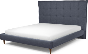 An Image of Lamas Super King Size Bed, Navy Wool with Walnut Stained Oak Legs