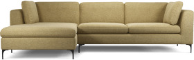An Image of Monterosso Left Hand Facing Chaise End Sofa, Textured Yellow Mustard with Black Leg