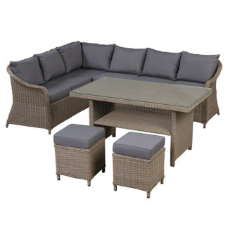 An Image of Wenford Corner Garden Dining Set with Rising Table in Natural Weave an