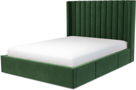 An Image of Cory King Size Bed with Storage Drawers, Lichen Green Cotton Velvet