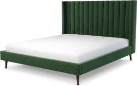 An Image of Cory Super King Size Bed, Lichen Green Cotton Velvet with Walnut Stained Oak Legs