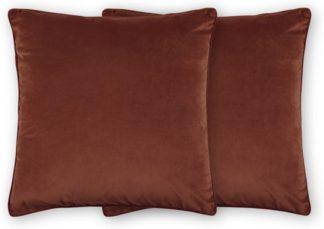 An Image of Julius Set of 2 Velvet Cushions, 59 x 59cm, Dark Terracotta