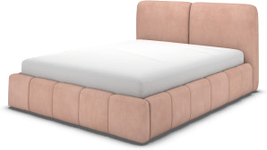 An Image of Maxmo Double Bed with Storage Drawers, Heather Pink Velvet